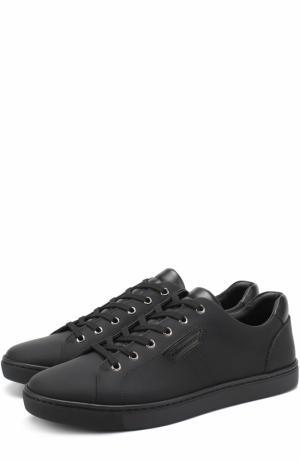 Кожаные кеды London на шнуровке Dolce & Gabbana. Цвет: черный