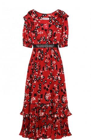 Платье-миди с завышенной талией и принтом self-portrait. Цвет: красный