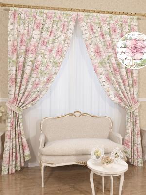 Шторы Демина Сирень. Цвет: салатовый, розовый, белый