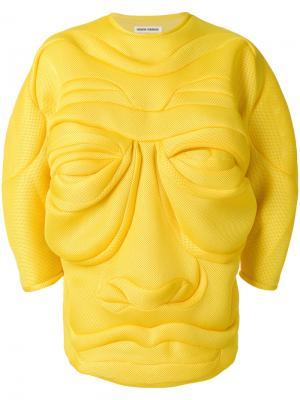Джемпер со складками в форме лица Henrik Vibskov. Цвет: жёлтый и оранжевый