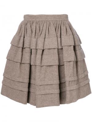 Ярусная мини-юбка Ermanno Scervino. Цвет: коричневый