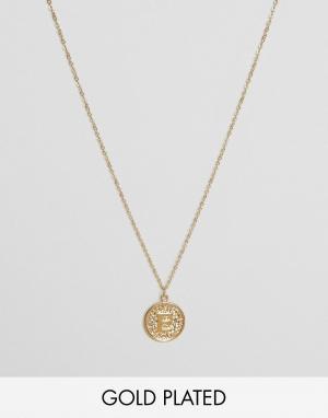 Ottoman Hands Ожерелье с инициалом Е на подвеске. Цвет: золотой