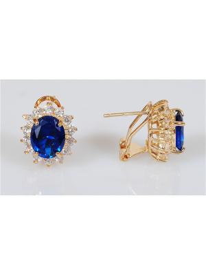 Серьги Lotus Jewelry. Цвет: золотистый, темно-синий