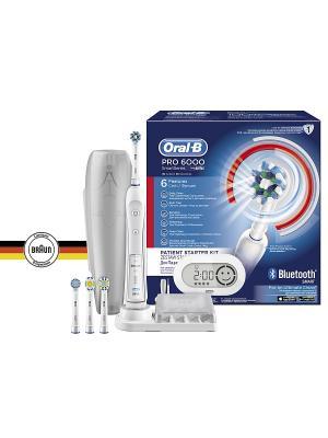 Электрическая аккумуляторная зубная щетка Oral-B PRO 6000 Smart Series с Bluetooth подключением ORAL_B. Цвет: белый