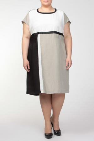 Платье QNEEL Q'NEEL. Цвет: черный, белый, бежевый
