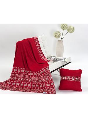 Комплект, плед+подушка Mora. Цвет: красный