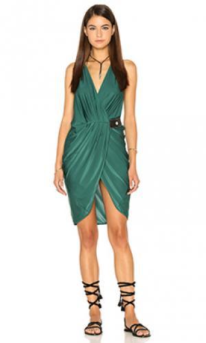 Мини платье v neck drape AGUADECOCO. Цвет: зеленый