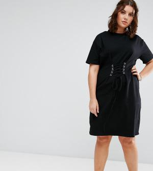 Alice & You Платье‑футболка с отделкой в стиле корсета. Цвет: черный
