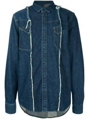 Джинсовая рубашка с панельным дизайном Sacai. Цвет: синий