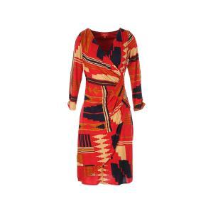 Платье средней длины с запахом и рисунком RENE DERHY. Цвет: красный/ оранжевый