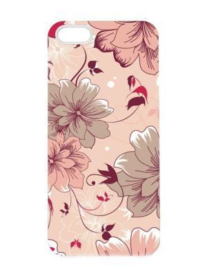 Чехол для iPhone 5/5s Цветы на розовом Арт. IP5-042 Chocopony. Цвет: бежевый, черный