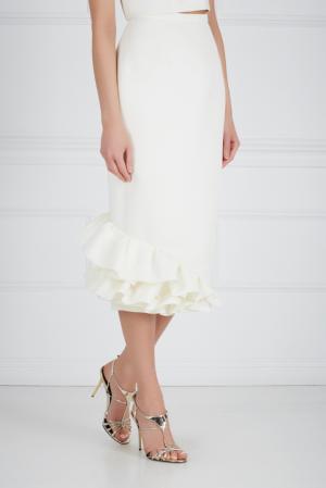 Шелковая юбка Ester Abner. Цвет: молочный