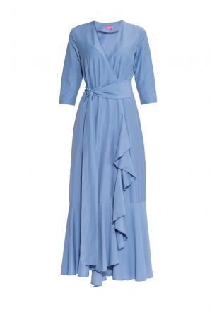 Платье из хлопка с поясом 173272 Hello Russia. Цвет: синий