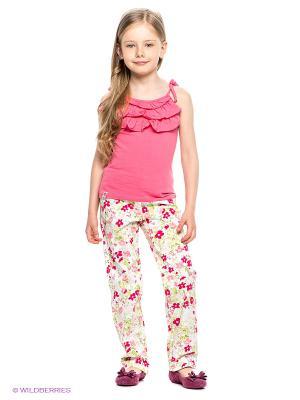 Брюки PlayToday. Цвет: белый, малиновый, розовый, салатовый