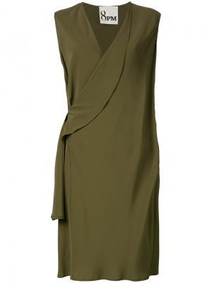 Платье с отворотом у выреза 8pm. Цвет: зелёный