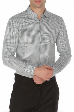 Классическая приталенная рубашка Z Zegna. Цвет: белый, зеленый