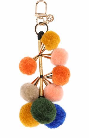 Брелок для ключей с помпонами Tory Burch. Цвет: розовый