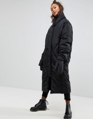 ASOS Длинное дутое пальто со съемными варежками. Цвет: черный