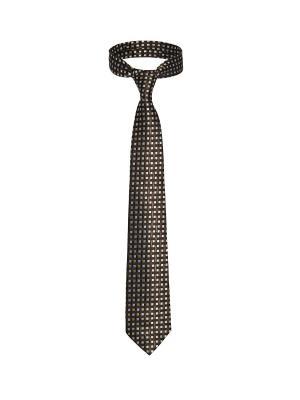 Классический галстук Казино Рояль со стильным принтом Signature A.P.. Цвет: коричневый, желтый, черный