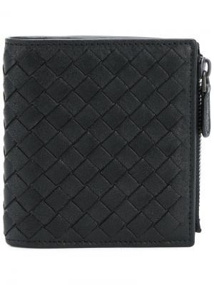 Складной бумажник с плетением Bottega Veneta. Цвет: чёрный