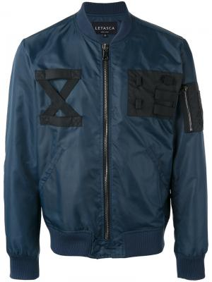 Куртка-бомбер с ремешками на груди Letasca. Цвет: синий