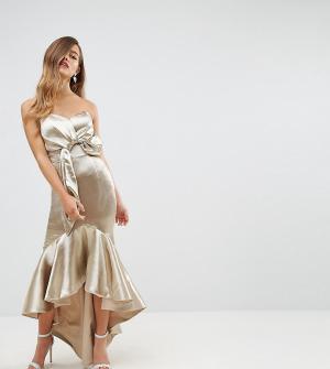 Jarlo Petite Платье миди с открытыми плечами, запахом и асимметричным подолом. Цвет: золотой