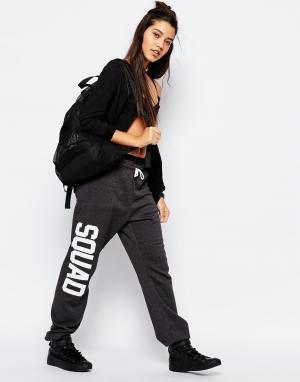 Private Party Свободные тренировочные брюки с принтом Squad. Цвет: серый
