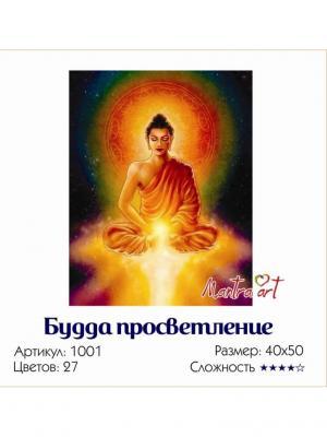 Живопись на холсте Будда просветление + диск в подарок MantraArt. Цвет: белый