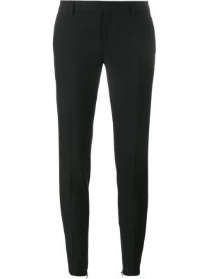 Узкие габардиновые брюки Saint Laurent. Цвет: чёрный