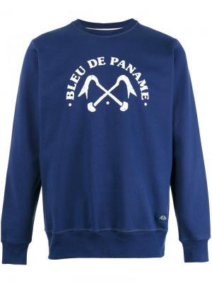 Толстовка с логотипом Bleu De Paname. Цвет: синий