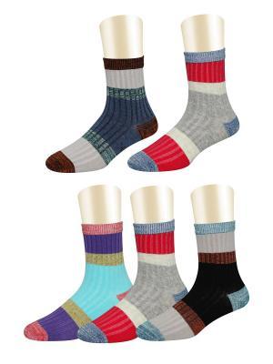 Носки, 5 пар Glamuriki. Цвет: черный, голубой, красный