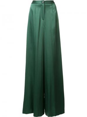 Шелковые брюки-палаццо Tome. Цвет: зелёный