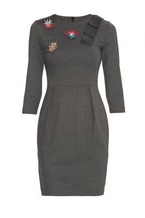 Платье из вискозы с бисером и кристаллами 180485 Cristina Effe. Цвет: серый