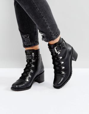 ASOS Кожаные походные ботинки RATIO. Цвет: черный