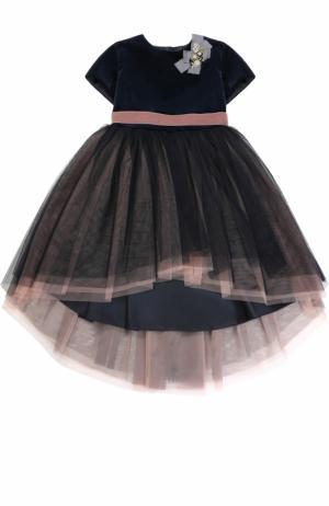 Многослойное платье с поясом на завышенной талии и бантом декором Caf. Цвет: синий