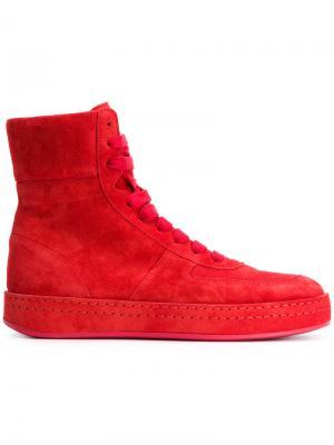 Хайтопы на шнуровке Ann Demeulemeester. Цвет: красный