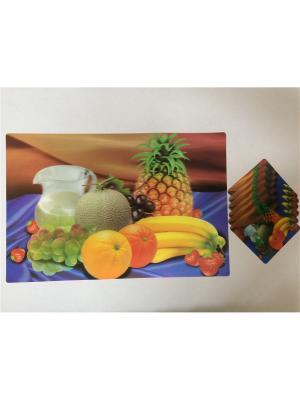 Набор плейсматов 3D,28x42см-6шт, 10x10см-6шт Dream time. Цвет: синий, желтый, оранжевый