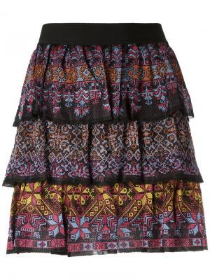 Ruffled mini skirt Cecilia Prado. Цвет: чёрный