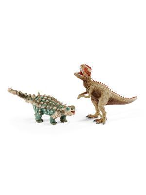 Сайхания и Гиганотозавр, малые SCHLEICH. Цвет: зеленый, коричневый, хаки