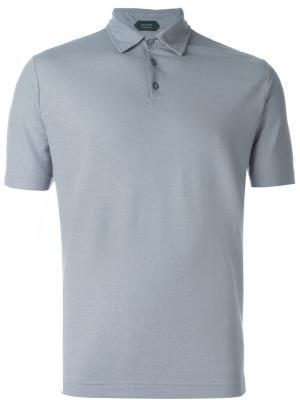 Классическая футболка-поло Zanone. Цвет: серый