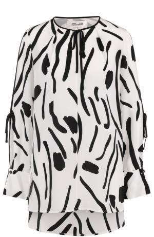 Шелковая блуза свободного кроя с принтом Diane Von Furstenberg. Цвет: черно-белый