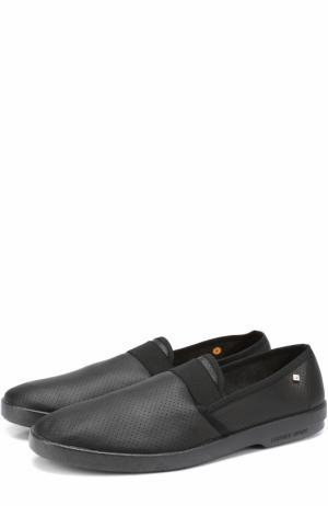 Кожаные эспадрильи с перфорацией Rivieras Leisure Shoes. Цвет: черный