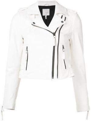Укороченная байкерская куртка Joie. Цвет: белый