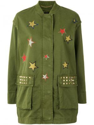Куртка в военном стиле со звездами Bazar Deluxe. Цвет: зелёный