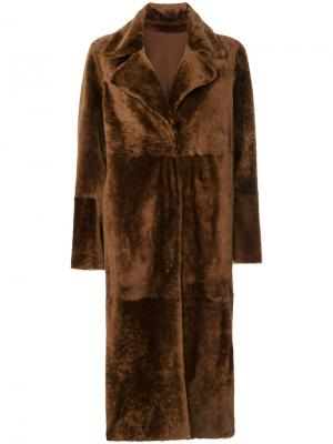 Пальто средней длины Drome. Цвет: коричневый