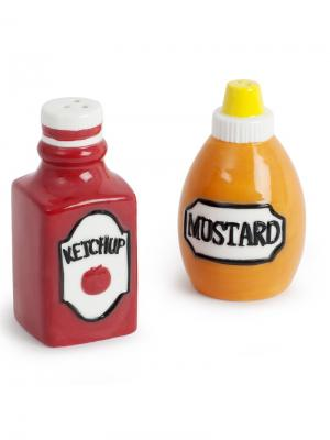 Солонка и перечница Ketchup & Mustard Balvi. Цвет: светло-коричневый, красный