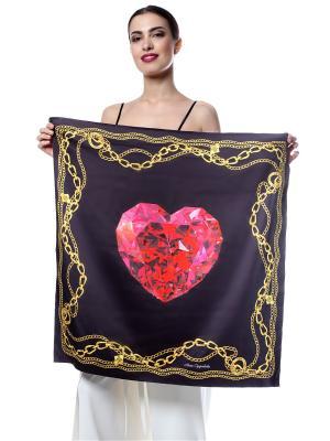 Платок шёлк, рубиновое сердце в золотых цепях на черном SEANNA. Цвет: черный