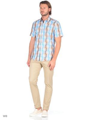 Рубашка Venturo. Цвет: голубой, светло-коричневый, темно-бежевый