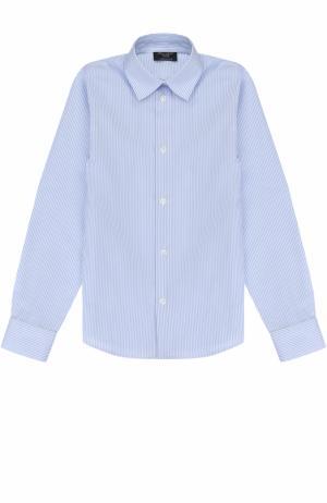 Хлопковая рубашка прямого кроя в полоску Dal Lago. Цвет: голубой