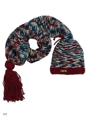 Шапка-шарф Уфимская девушка ТТ. Цвет: бордовый, серый меланж